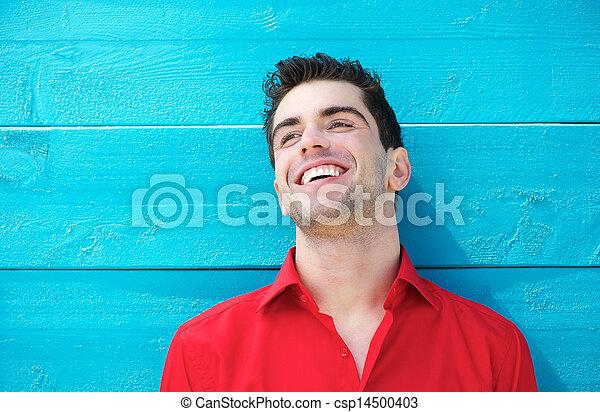 fiatal, szabadban, portré, mosolygós, jelentékeny, ember - csp14500403