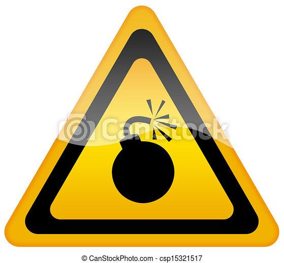 figyelmeztetés, bombáz, aláír - csp15321517
