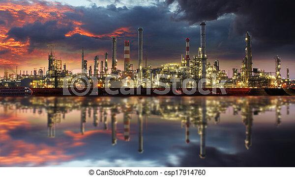 finomító, olaj, félhomály - csp17914760