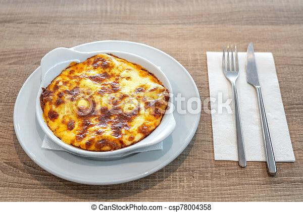 finom, lasagna, lunch., tányér - csp78004358