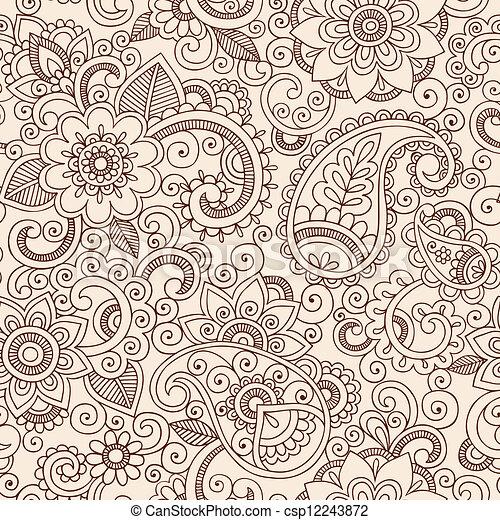 floral példa, paisley, hennabokor, mehndi - csp12243872