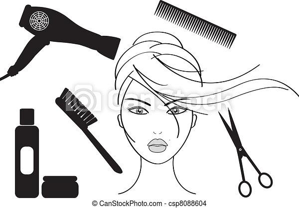 fogadószoba, frizura - csp8088604