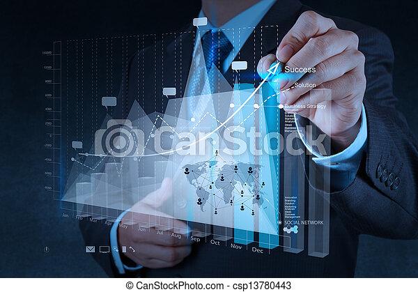 fogalom, ügy, dolgozó, modern, kéz, számítógép, üzletember, új, stratégia - csp13780443