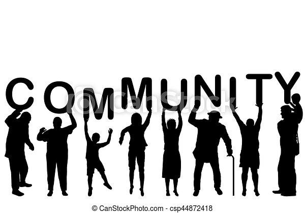 fogalom, közösség, körvonal, emberek - csp44872418