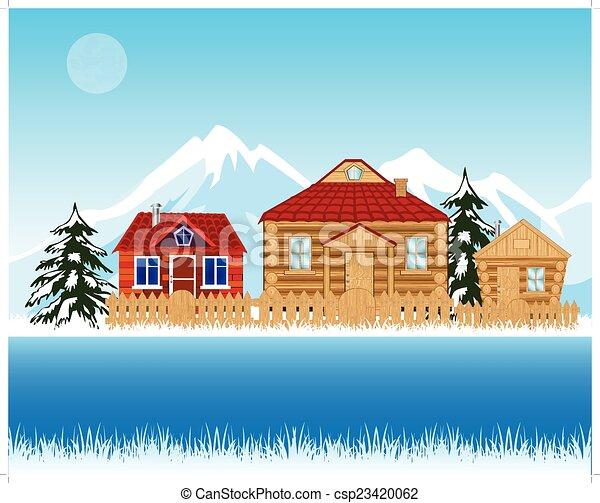 folyó, tél, falu, mellett - csp23420062