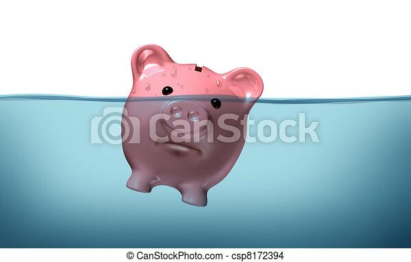 fulladás, adósság - csp8172394