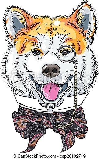 furcsa, inu, kutya, akita, vektor, csípőre szabott, karikatúra - csp26102719