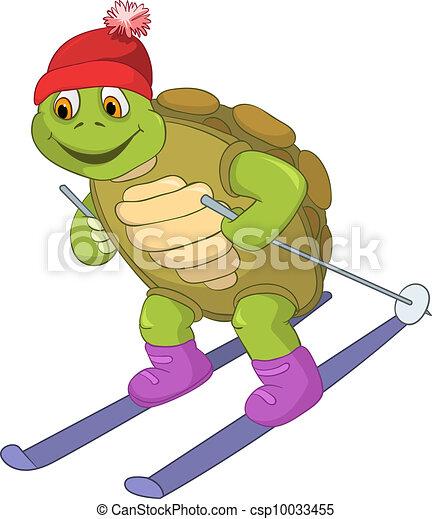 furcsa, skiing., turtle. - csp10033455