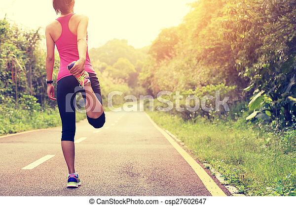 futó, nő, meleg, külső, feláll - csp27602647