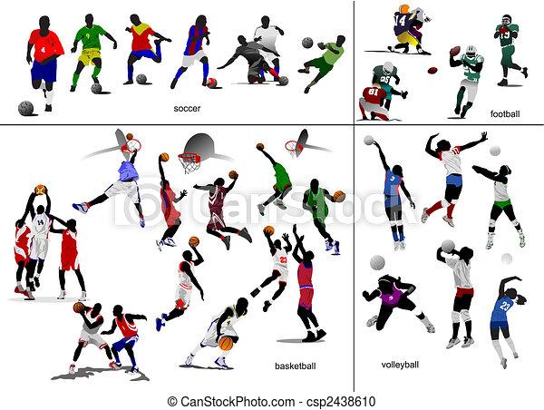 futball, labdarúgás, ábra, vektor, játékok, volleyball., kosárlabda, ball. - csp2438610