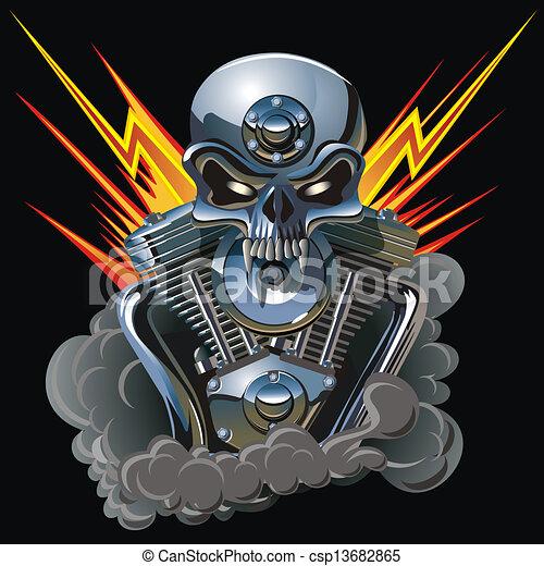 gép, metall, koponya - csp13682865
