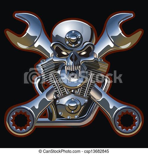 gép, metall, koponya - csp13682845