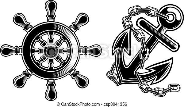 gördít, hajó, kormányzó, vasmacska - csp3041356