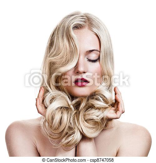 girl., hair., göndör, egészséges, hosszú, gyönyörű, szőke - csp8747058