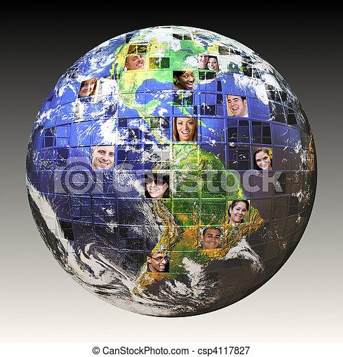 globális, emberek, hálózat - csp4117827