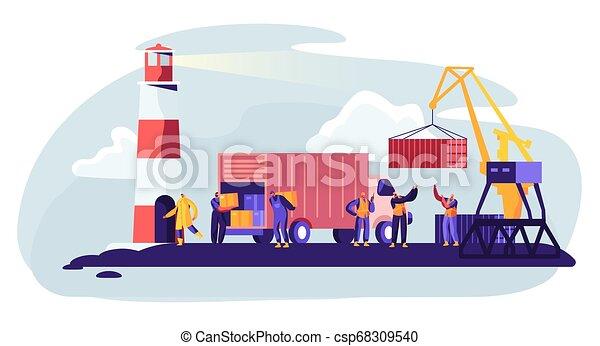 globális, rakomány, hord, tengeri kikötő, rév, berakodás, munkás, logistic., lighthouse., tároló, lakás, összekapcsol, tengeri, dobozok, ábra, daru, tengeri, karikatúra, boat., kikötő, hajózás, vektor, csereüzlet - csp68309540