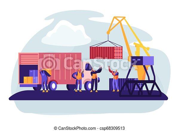 globális, rakomány, hord, tengeri kikötő, rév, berakodás, munkás, logistic., lighthouse., tároló, lakás, összekapcsol, tengeri, dobozok, ábra, daru, tengeri, karikatúra, boat., kikötő, hajózás, vektor, csereüzlet - csp68309513