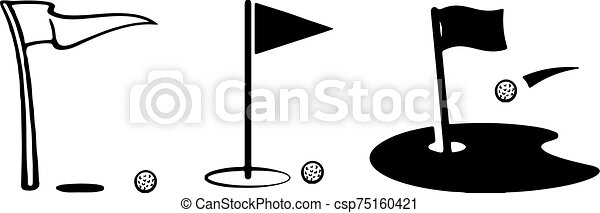 golf, ikon, háttér, elszigetelt, white lobogó - csp75160421