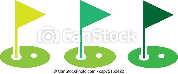 golf, ikon, háttér, elszigetelt, white lobogó - csp75160422
