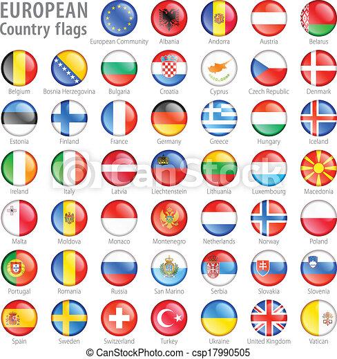 gombok, nemzeti, állhatatos, lobogó, európai - csp17990505