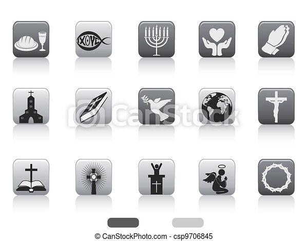 gombol, derékszögben, keresztény, ikon - csp9706845