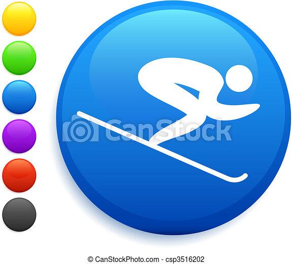 gombol, ikon, kerek, síelés, internet - csp3516202