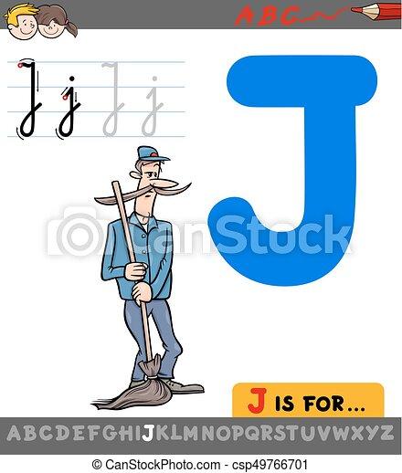 gondnok, j, betű, karikatúra, levél - csp49766701