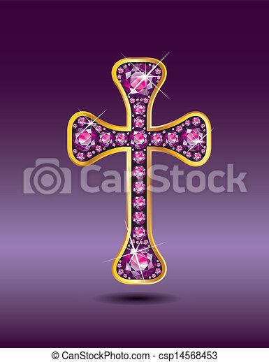 gránát, keresztény, kereszt, arany - csp14568453