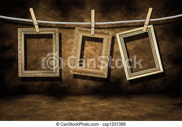 grunge, arany, szomorú, fénykép, háttér, keret - csp1231389