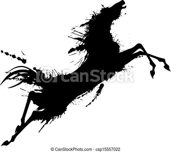 grunge, ló ugrás, árnykép - csp15557022