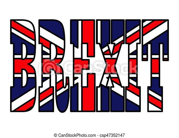 gyönyörű, brexit, uk, szöveg, jelkép, elszigetelt, ábra, lobogó, vektor, háttér, fehér, ikon, design. - csp47352147