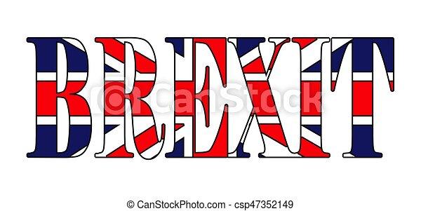 gyönyörű, brexit, uk, szöveg, jelkép, elszigetelt, ábra, lobogó, vektor, háttér, fehér, ikon, design. - csp47352149
