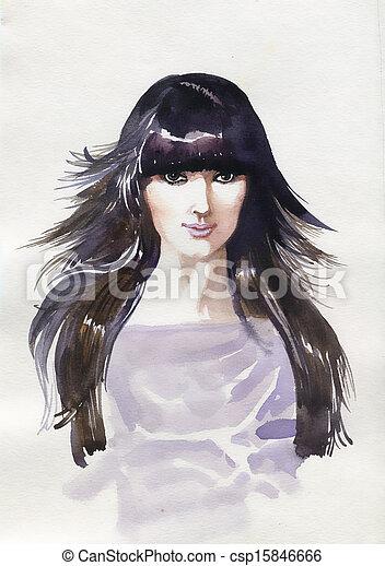 gyönyörű, festett, woman., kéz - csp15846666