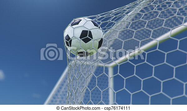 gyönyörű, goal., kék, gól, háttér., pillanat, ellen, futball, előrehajol, ég, háló, sky., háló, gyönyörködtet, ábra, repült, labda, háttér, 3 - csp76174111
