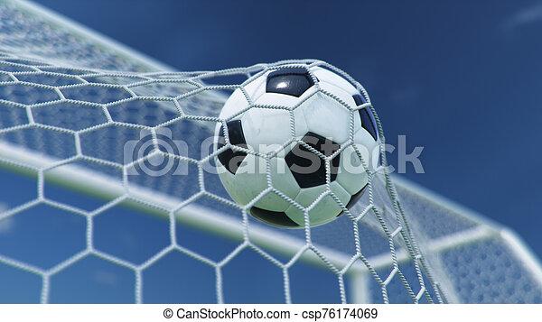 gyönyörű, goal., kék, gól, háttér., pillanat, ellen, futball, előrehajol, ég, háló, sky., háló, gyönyörködtet, ábra, repült, labda, háttér, 3 - csp76174069
