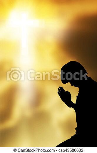 gyönyörű, imádkozás, ég, háttér, ember - csp43580602