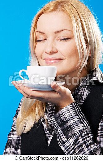 gyönyörű, kávécserje, nő, fiatal, szaglás - csp11262626
