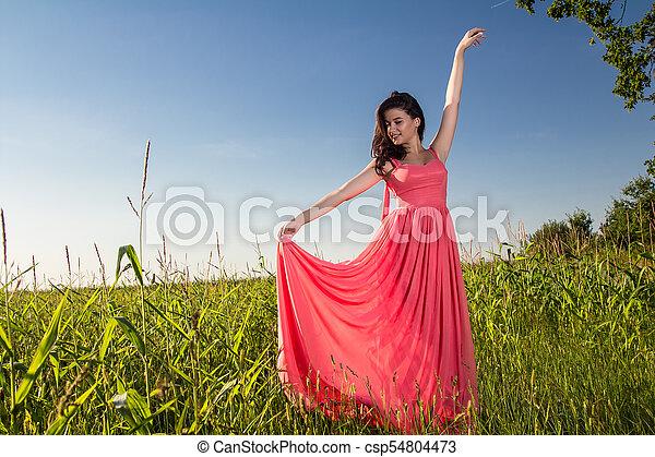 gyönyörű, megfog, nő, fiatal - csp54804473