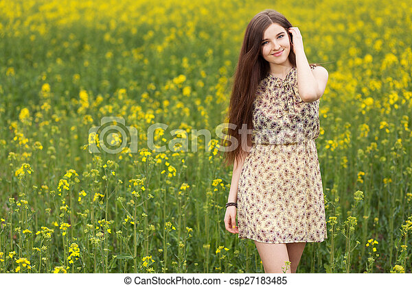 gyönyörű, megfog, nő, fiatal - csp27183485