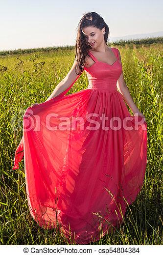 gyönyörű, megfog, nő, fiatal - csp54804384