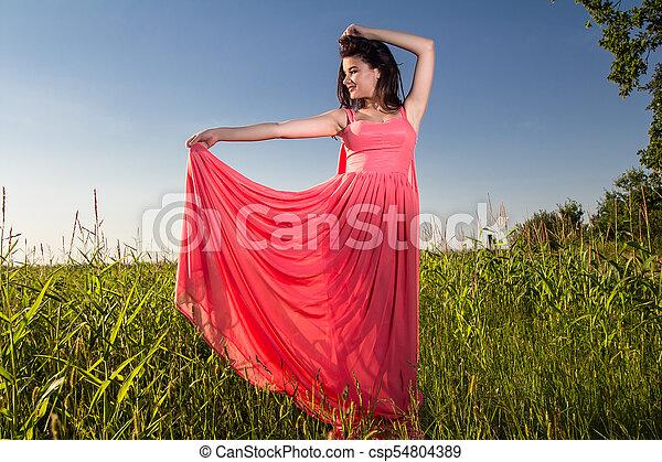 gyönyörű, megfog, nő, fiatal - csp54804389
