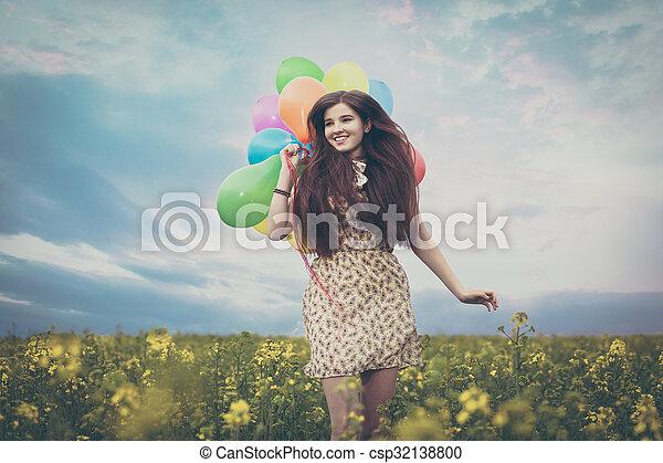 gyönyörű, megfog, nő, fiatal - csp32138800