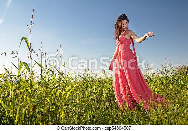 gyönyörű, megfog, nő, fiatal - csp54804507