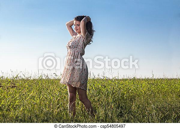 gyönyörű, megfog, nő, fiatal - csp54805497