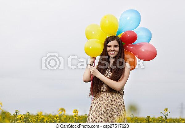 gyönyörű, megfog, nő, fiatal - csp27517620