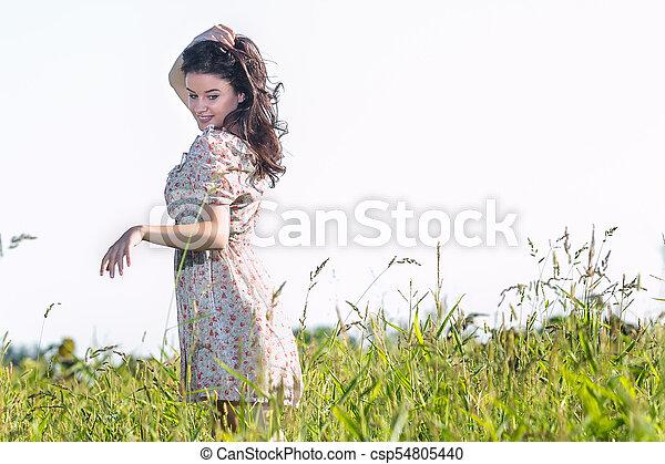 gyönyörű, megfog, nő, fiatal - csp54805440