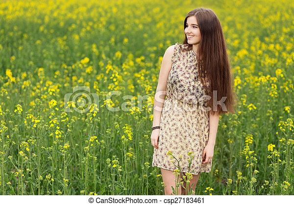 gyönyörű, megfog, nő, fiatal - csp27183461