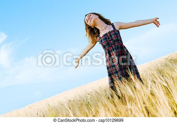 gyönyörű, mező, nő, ruha, tarka - csp10129699