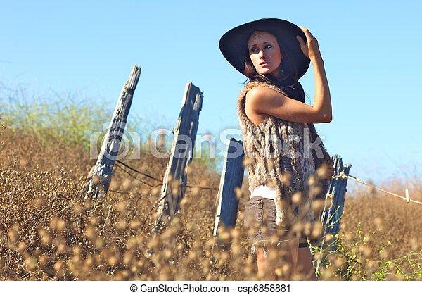 gyönyörű, nyár, nő, fiatal, mező, idő - csp6858881