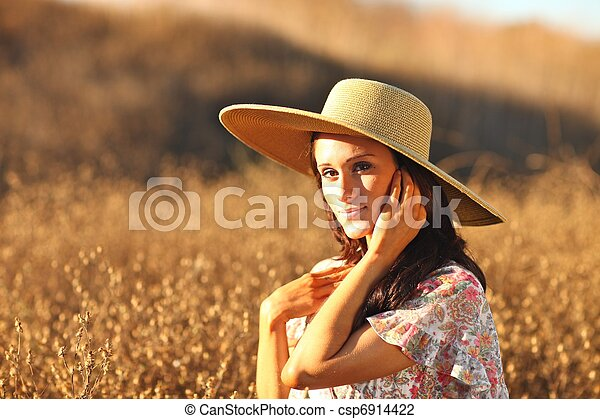 gyönyörű, nyár, nő, fiatal, mező, idő - csp6914422